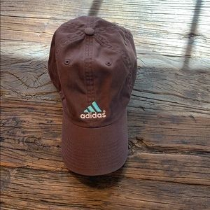 Women's brown teal Adidas hat one size adjustable